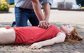 View of first aid on the sidewalk